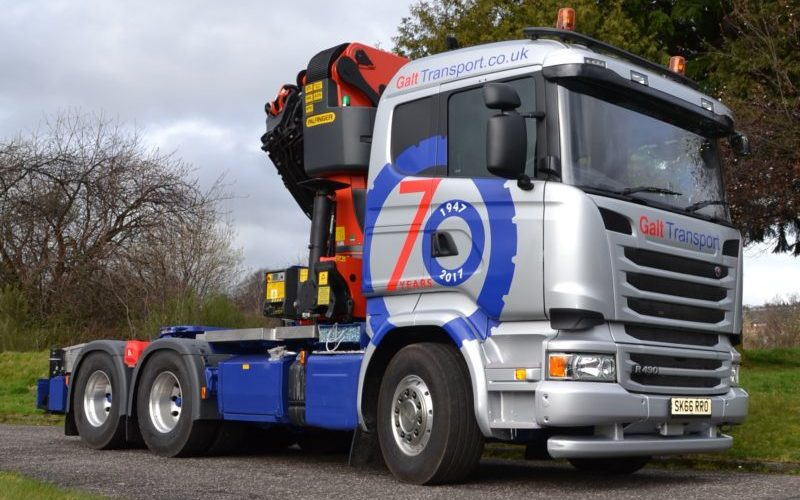 Vinyl-wrapped Scania marks 70 years of Galt Transport