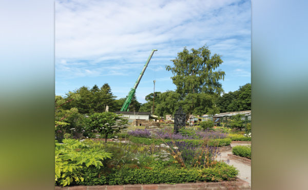 Crane lift assists walled garden work